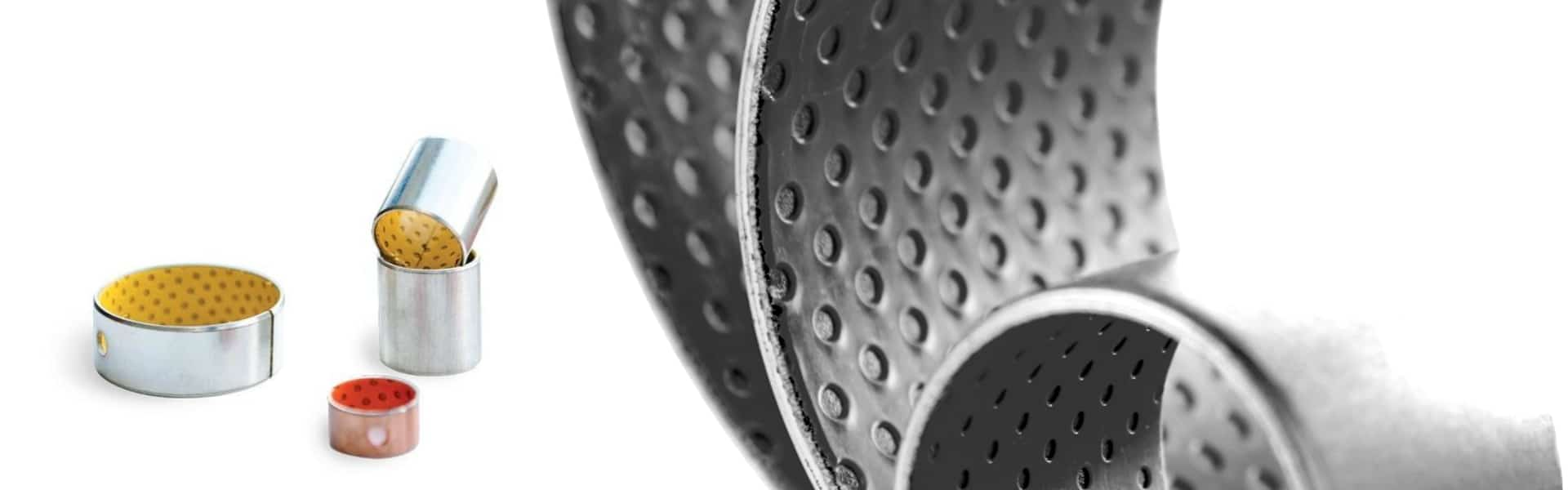 Wrapped dry sliding bearings sheet material bushings
